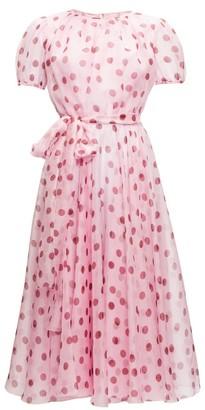 Dolce & Gabbana Polka-dot Silk-organza A-line Dress - Pink Multi