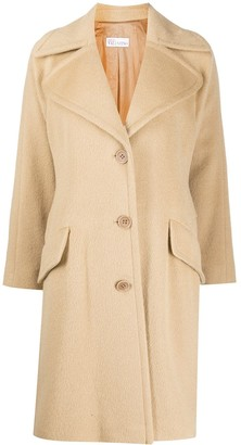 RED Valentino Single-Breasted Wide-Lapel Coat