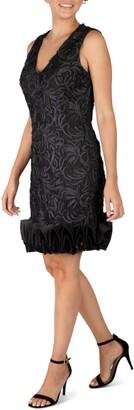Donna Ricco V-Neck Sleeveless Soutache Cupcake Hem Dress