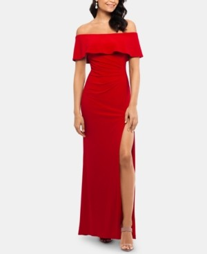 Xscape Evenings X by Petite Ruffled Off-The-Shoulder Gown