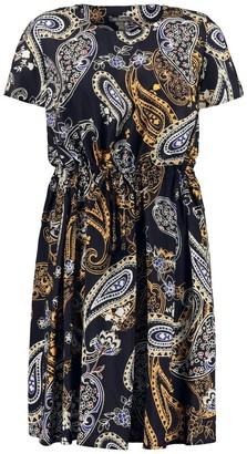 Ulla Popken Short Paisley Print Dress with Short Sleeves
