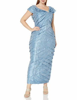 London Times Women's Plus Size Shimmer Shutter Gown with Broach Detail