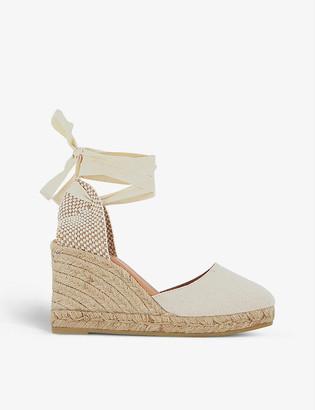 Gaimo Wrap-around canvas espadrille wedge sandals