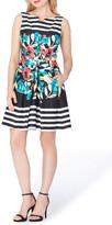 Tahari Stripe Floral Fit & Flare Dress (Regular & Petite)