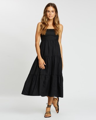 AERE - Women's Black Midi Dresses - Tiered Linen Midi Dress - Size 6 at The Iconic