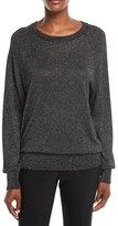 Raglan Long-Sleeve Crewneck Metallic Pullover Sweater