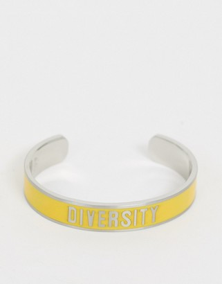 Benetton diversity collection bracelet with diversity slogan-Yellow