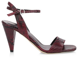 Via Spiga Ria Snakeskin-Embossed Leather Sandals