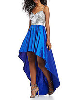 B. Darlin Sequin Bodice Long High-Low Dress