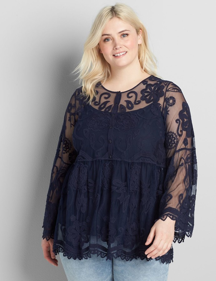 Thumbnail for your product : Lane Bryant Embroidered Mesh Babydoll Top