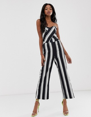 Morgan bandeau culotte jumpsuit in stripe