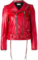 Saint Laurent classic motorcycle jacket - women - Cotton/Calf Leather/Polyester/Cupro - 38