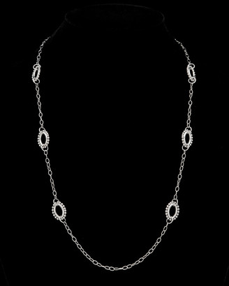 Italian Silver Beaded Edge Oval Station Necklace