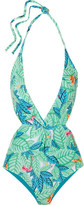 Mara Hoffman Cutout Printed Halterneck Swimsuit - Leaf green