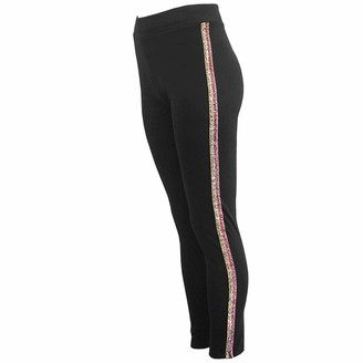 Xpose Ladies Black Side Glitter Striped Stretchy Gym Workout Yoga Leggings Pants Blue Silver Multicoloured Rainbow Coloured Glitter Stripes 6 8 10 12 14 (Rainbow Stripe M/L (6/8))