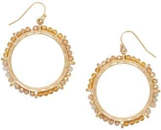 Canvas Goldtone Crystal Hoop Drop Earrings