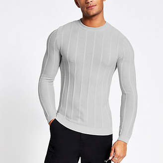 River Island Grey muscle fit rib knitted jumper
