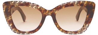 Fendi Ff Cat-eye Tortoiseshell-acetate Sunglasses - Brown