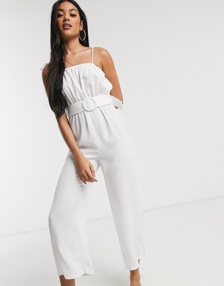 Fashion Union belted beach jumpsuit with wide leg in white