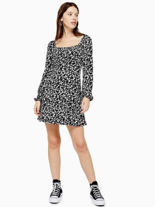Topshop Floral Blousan Mini Dress - Black