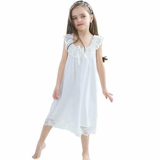 Flwydran Girls' Princess Nighties Lace Nightgowns Modal Cotton Sleepwear for 3-12 Years Blue