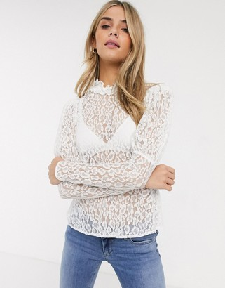 Ghost lecie lace top with puff sleeve-Cream