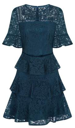 Dorothy Perkins Womens Girls On Film Teal Lace Tiered Cotton Mix Dress, Teal