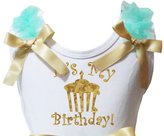 Petitebella Bling It's My Birthday White Shirt Blue Girl Blouse 1-8y