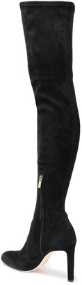 Jimmy Choo Marie 100 Lace-up Stretch-suede Thigh Boots
