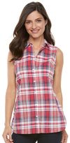 Croft & Barrow Women's Plaid Sleeveless Shirt