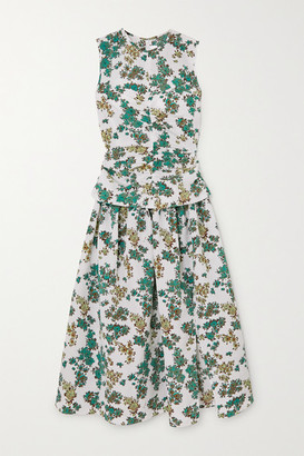 Victoria Victoria Beckham Ruched Floral-print Cloque Midi Dress - Green