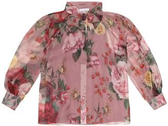 Dolce & Gabbana Kids Floral silk blouse