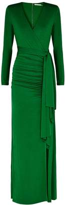 Alice + Olivia Kyra Green Ruched Jersey Gown