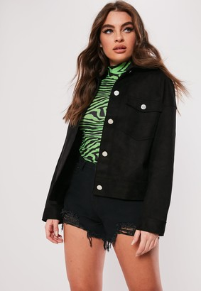 Missguided Black Boxy Bonded Faux Suede Trucker Jacket