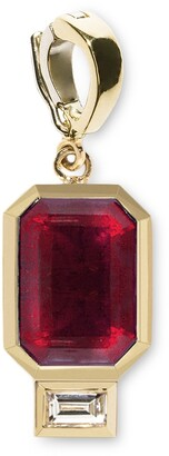 Azlee Large Ruby and Baguette Diamond Charm in Yellow Gold