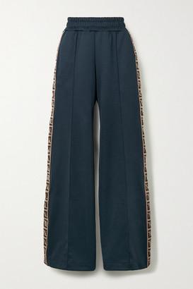Fendi Roma Striped Jersey Track Pants - Navy