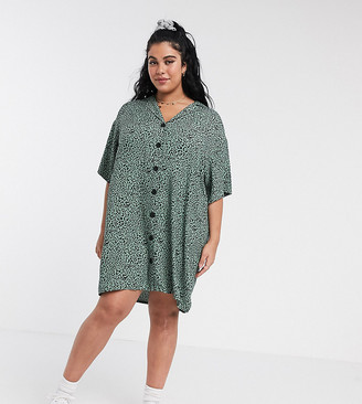 Asos DESIGN Curve chuck on button through mini shirt dress in leopard print