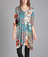Aster Blue & Red Floral Sidetail V-Neck Dress - Plus Too