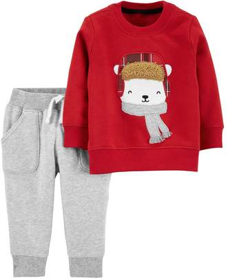 Carter's Baby Boy 2-Piece Polar Bear Sweater & Fleece Pants Set