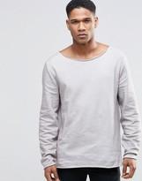 Asos Sweatshirt Wih Raw Edges & Acid Wash In Light Grey