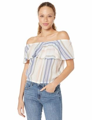 Michael Stars Women's Jordy Prairie Stripe Multi-Wear Flounce Top