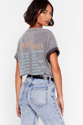 Nasty Gal Womens Paradise Roses Graphic Band Tee - Grey - L