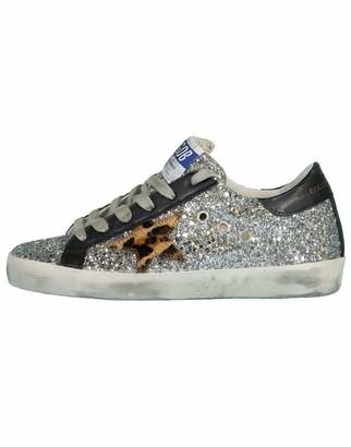 Golden Goose Silver and Beige Brown Superstar Glitter Upper Sneaker