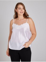 Girls On Film Curvy White Cami With Lace Trim