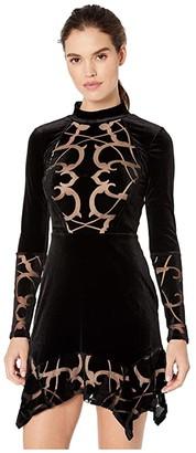 BCBGMAXAZRIA Long Sleeve Knit Dress (Black) Women's Clothing