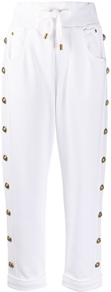 Balmain Embossed-Buttons Drawstring Trousers