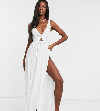 Asos Tall DESIGN TALL tie back beach maxi dress with twist front detail in white