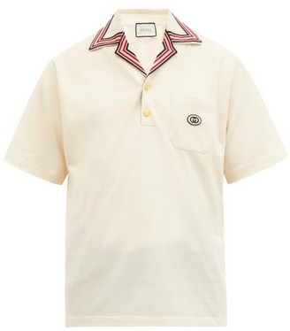 Gucci Logo-patch Cotton-blend Polo Shirt - White