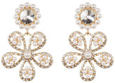 Natasha Accessories Glitz Faux Pearl Flower Drop Earrings