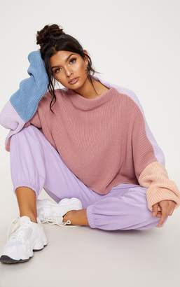 PrettyLittleThing Light Grey Oversized Colour Block Jumper